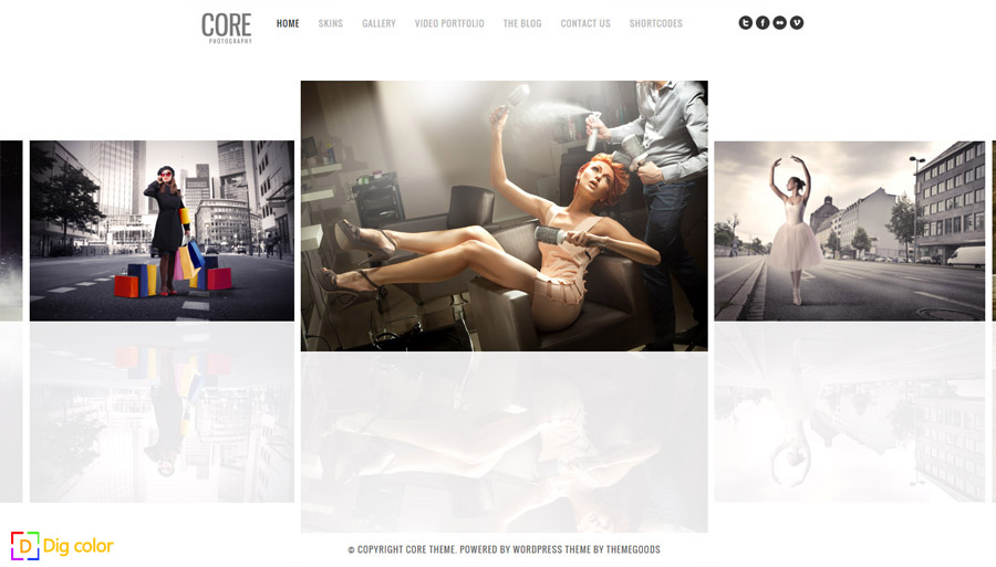 Core wordpress photography theme